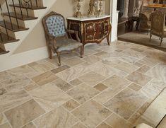 I like this tile for our master bath Travertine Tile Backsplash, Travertine Floors, Stone Flooring, Chair Rail Molding, Outdoor Tiles, Tile Stores, Flooring Store, Floor Patterns, Quartz Countertops