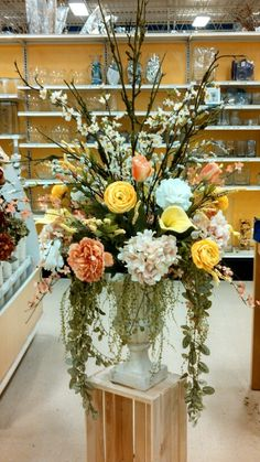 Spring 2014 floral centerpiece large urn arrangement @ michaels craft ny #1035