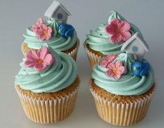 Garden Cupcakes, Summer Cupcakes, Flower Cupcakes, Sweet Cupcakes, Mini Cakes, Cupcake Cakes, Cupcakes Bonitos, Bird Cage Cake, Cupcake Photos