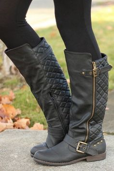 Black Quilted Buckle Rider Boots