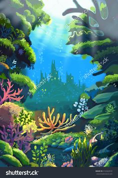 Illustration: The Sea Where The Little Mermaids' Father Live. Realistic Style. Scene / Wallpaper / Background Design. - 312262019 : Shutterstock