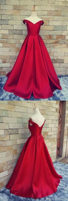 V Neck Prom/Evening Dresses ,Stain Prom Dress,Red Prom Dresses, A-line Long Simple Formal Gowns ,Sexy Party Pageant Graduation Dresses