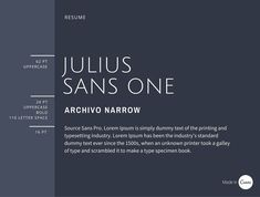 Canva Typo Pairing Course: Julius Sans One offers a fine stroke, and its broader baseline makes it a great display font. Offsetting well against the more masculine and geometric style of Archivo Narrow, these typefaces offer a good combination for easy readability.