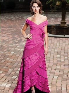 Satin and Chiffon Portrait Collar Neckline Side Ruching Bodice A-line Bridesmaids Dress