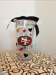20oz 49ers Tumbler with matching hearts and personalized.  17 http   m. d35a3d936