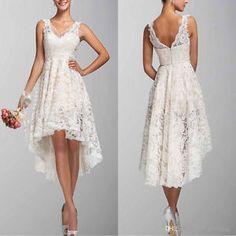 Lace Hi Lo Short Ivory Wedding Dress Boho Bridal Gown Custom Size 2 4 6 8 10+ | eBay