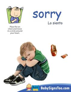 Baby Signs® printable poster with the ASL sign for SORRY  www.BabySignsToo.com #BabySigns #babysignlanguage #ASL
