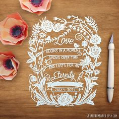 Custom papercut - Love is Eternal quote. Personalized with your names and wedding/anniversary date. (Names were blocked out in this photo so no surprises were ruined!) ;) Carefully handcut with an x-acto knife. Papercut art by Sarah Trumbauer