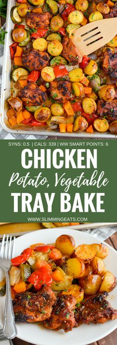 Slimming Eats Chicken, Potato, Vegetable Tray Bake - gluten free, dairy free, Slimming World and Weight Watchers friendly paleo crockpot vegetables Baked Vegetables, Chicken And Vegetables, Chicken And Vegetable Bake, Healthy Chicken, Veggies, Clean Eating, Menu Dieta, Slimming Eats, Potato Vegetable