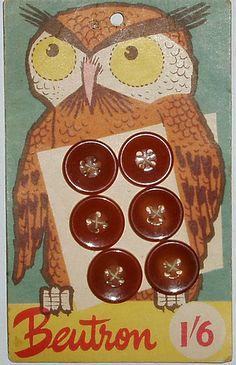 Mid century Owl Button card from Australia.