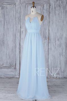 2017 Light Blue Chiffon Bridesmaid Dress Empire Waist Halter