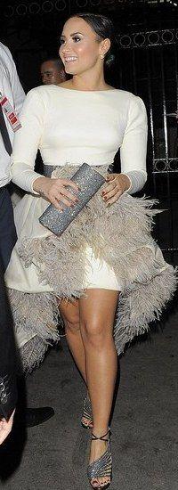 Take flight in a feather dress like Demi Lovato