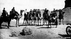 Gertrude Bell, W Churchill, TE Lawrence on camels. World War One, Mans World, W Churchill, Gertrude Bell, Newcastle University, Lawrence Of Arabia, Laurence, Image Caption, Camels