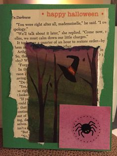 Halloween card made with art work from a candy catalog, vintage book page, purple spider and witches hat