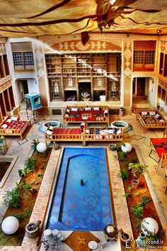 Hotel in Yazd, Iran. Indoor take on a typical Persian court yard. Persian Architecture, Art And Architecture, Timor Oriental, Patio Central, Visit Iran, Persian Garden, Iran Travel, Tehran Iran, Persian Culture