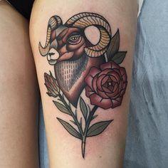 Ram and flower, Tammy Kim, tattoo traveller