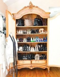 Turn and old armoire into a BRAG WORTHY shoe closet! LOVE THIS IDEA!! ~ giddyupcycled.com
