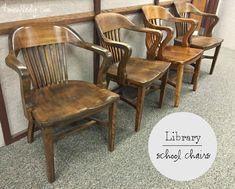Vintage Library / Banker / Jury Wood Chairs