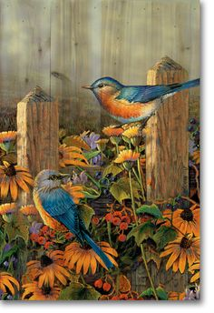 Bluebirds Wrapped Canvas Art by Sam Timm Painting Prints, Watercolor Paintings, Art Prints, Bird Paintings, Bird Artwork, Decoupage, Arte Country, Bird Pictures, Nature Prints