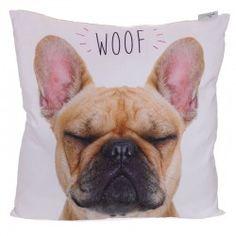 Cuscino divano arredo casa letto tessuto cane bulldog cagnolino