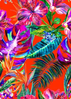 The Matthew Williamson red Maracas Montage print. The hero print for Cruise 2017 is a playful design named after Maracas Bay in Trinidad. It was painted by hand in our London studio, using a combination of oil and acrylic paints for a loose, bold feel. Bountiful Peruvian lilies and vivid bird of paradise plants stand out against deep green foliage. The oil paints have rendered the petals almost 3D-like in quality.