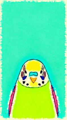 "Tori no iro and ""Waterlogue"" Budgerigar. Tori no iro und Wellensittich ""Waterlogue"". Wallpaper Maker, Bird Wallpaper, Colorful Wallpaper, Bird Party, Bird Illustration, Cute Birds, Budgies, Parakeet, Cute Animals"