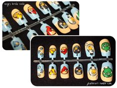 angry birds nails...I Would be the coolest aunt EVER if i had these