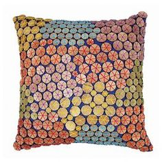 Throw pillow with a wooden bead mosaic design.  Product: PillowConstruction Material: Cotton and wooden beadsColor: MultiFeatures:  Insert includedAdorned with wooden beads Dimensions: 16 x 16Cleaning and Care: Spot clean