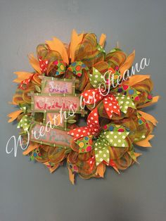 summer deco mesh wreath, yellow and green deco mesh wreath, summer wreath, Wreaths by Ileana    $75.00