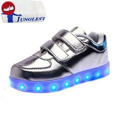 (Present:kleines Handtuch)Silber EU 35, Unisex und 7 Winter Farbe LED Aufladen Kinderschuhe mode Mädchen laufende Junge schuhe Leuchtend Paare Schuhe Sport Leucht JUNGL