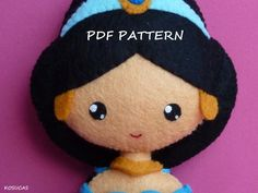 PDF sewing pattern to make felt doll inspired in by Kosucas