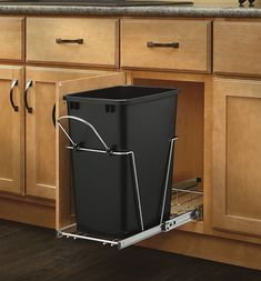 Kitchen Cabinet Rev-A-Shelf - S - Double 35 Qt. Pull-Out Black and Chrome Waste Container - This Double 35 Quart Bottom Mount Waste Pull-out comes with two 35 qt Black waste cans. Product Dimensions: W x D x H Trash Containers, Trash Bins, Kitchen Organization, Kitchen Storage, Kitchen Garbage Can Storage, Kitchen Pantry, Organizing, Ugly Kitchen, Kitchen Organizers