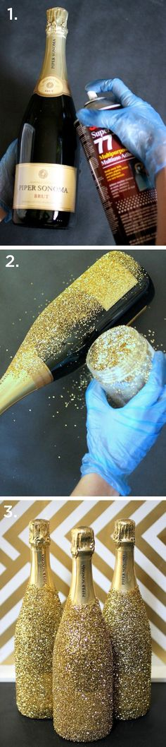 Glittered Wine Bottles. Simply spray with adhesive, and add glitter. Great for a formal party or wedding.