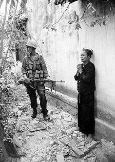 Marine guards Vietnamese Woman - taken September 11, 1965 ~ Vietnam War
