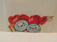 Vintage Valentine Card Buttons Needle Thread Sew Cute Unused Anthropomorphic | eBay