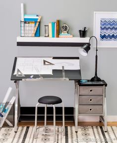 Create the drafting table of your dreams with plenty of functional storage space and inspirational decor!