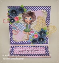 "Luciana Yaros Scrapbooking: Easel card ""Thinking of you"" + Foto Tutorial para ..."