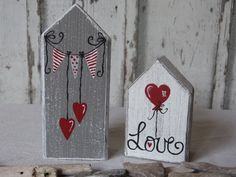 Decorative objects - * 2 wedding cottages in a set * - a designer piece by b . - Decoration objects – * 2 wedding cottages in a set * – a unique product by on DaWanda - Wood Block Crafts, Scrap Wood Projects, Wood Blocks, Craft Projects, Home Crafts, Diy And Crafts, Arts And Crafts, Wooden Decor, Wooden Crafts