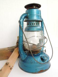 Vintage Lantern Blue Dietz Little Wizard Kerosene Lamp Embossed Glass Railroad Cabin Rustic Camping Lighting.  via Etsy.