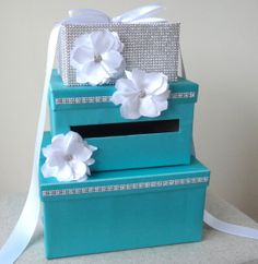 3 Tier: Satin Wedding Card Box with Flowers (Tiffany Blue). Change white to black. Mom, heres our idea! however The new one is AMAZING! :) Old hat box with an opening in the lid. On Your Wedding Day, Dream Wedding, Fantasy Wedding, Gift Cards Money, Trendy Wedding, Wedding Ideas, Wedding Colors, Wedding Stuff, Satin Flowers
