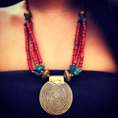 ॐ Beautiful Coral Swirl Pendant Necklace- only £14 (AUS $26.17, €17.75, US $21.81) ॐ Check out our website for more at www.ohmboho.com ☮ #ohmboho #jewellery #jewelry #necklace #brass #coral #turquoise #swirl #boho #bohemian #hippy #hippie #ethnic #gypsy #native