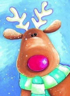 Looking for cute holiday art projects - paint a reindeer! by lillian Christmas Pictures, Christmas Art, Christmas Decorations, Easy Christmas Drawings, Reindeer Christmas, Painting For Kids, Art For Kids, Painting Canvas, Christmas Paintings On Canvas