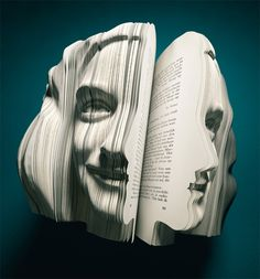 book art 'written portraits' is a series of books which shows the different faces, literally, behind the selected autobiographies of anne frank, vincent van gogh, louis van gaal and kader abdolah. WOW a little scary but cool Kreative Portraits, 3d Portrait, Portrait Ideas, Libros Pop-up, Anne Frank, Frank Vincent, Paper Book, Book Week, Book Folding