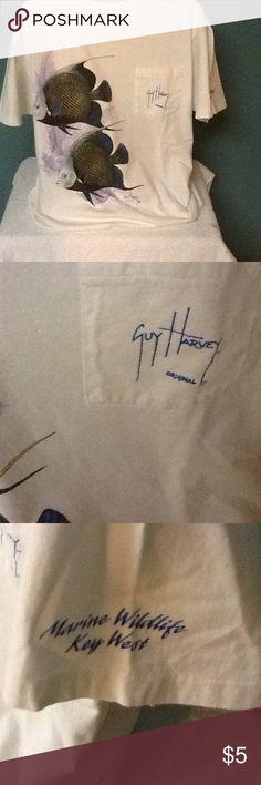 Guy Harvey men's  tee shirt Fish on the front, fish on the back.  Pocket has Guy Harvey original, tag says Hanes ??  Pre owned Shirts Tees - Short Sleeve