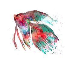 Watercolor Art Print Watercolor Fish Colorful by Watercolorflower