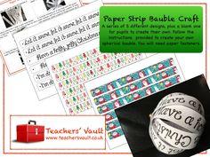 Paper Strip Christmas Bauble Craft: - KS1, KS2, KS3, KS4 Christmas Art and Design Activities