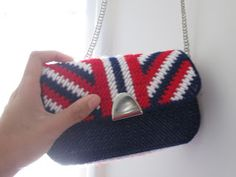 """America, The Fashionable.  Zoe wrote, """"I had fun with the color scheme on this one. Again, though, with the book pattern being a bit off. I'm creative enough to work around that,  fortunately. I love the fabric I picked, it just screams patriotism. And the chain goes well with everything."""""""