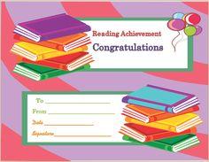 Reading Achievement Award Certificate Template