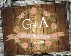 Placa Save the Date tipo Madeira 40x30