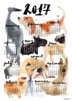 2017 DOG calendar by cinziazenocchini on Etsy